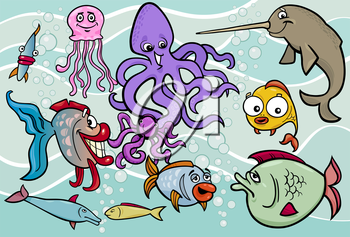 Cartoon Illustrations of Funny Sea Life Animals and Fish Mascot Characters Group for Children