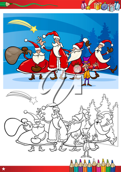 Coloring Book or Page Cartoon Illustration of Themes Set with Santa Claus Group with Christmas Presents and Decorations for Children