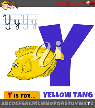 Educational cartoon illustration of letter Y from alphabet with yellow tang fish animal character