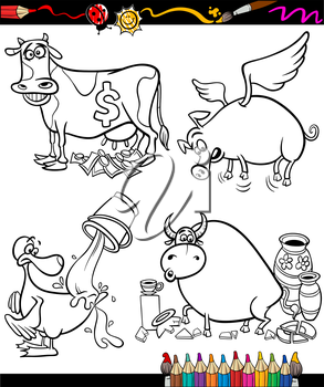 Coloring Book or Page Cartoon Illustration Set of Black and White Sayings or Proverbs for Children