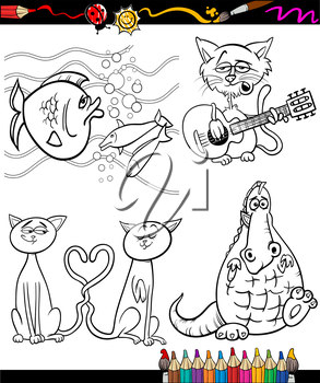 Coloring Book or Page Cartoon Illustration Set of Black and White Animals and Pets or Fantasy Characters for Children