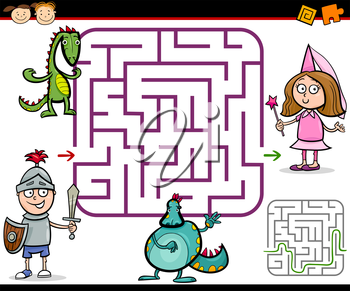 Cartoon Illustration of Education Maze or Labyrinth Game for Preschool Children with Little Boy Knight and Girl Princess