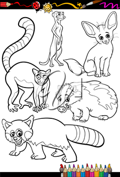 Coloring Book or Page Cartoon Illustration Set of Black and White Wild Animals Characters for Children