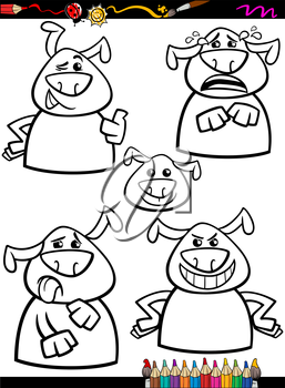 Coloring Book or Page Cartoon Illustration of Black and White Funny Dogs Expressing Emotions Set for Children
