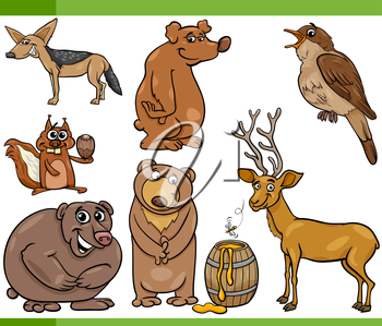 Cartoon Illustration of Funny Wild Animals Set