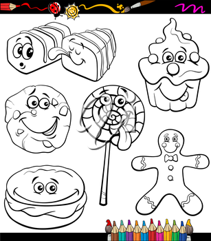 Coloring Book or Page Cartoon Illustration of Black and White Funny Sweets and Cookies Set