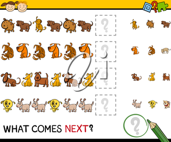 Cartoon Illustration of Completing the Pattern Educational Game for Preschool Children