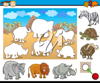 Cartoon Illustration of Educational Game for Preschool Children with Safari Animal Characters