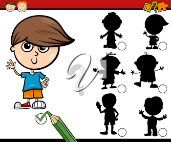 Cartoon Illustration of Educational Shadow Task for Preschool Children with Boys