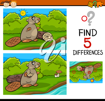 Cartoon Illustration of Finding Differences Educational Task for Preschool Children with Beaver Animal Character