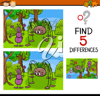 Cartoon Illustration of Finding Differences Educational Task for Preschool Children with Ant and Spider Insect Characters