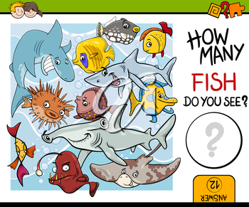 Cartoon Illustration of Educational Counting Task for Preschool Children with Fish Animal Characters