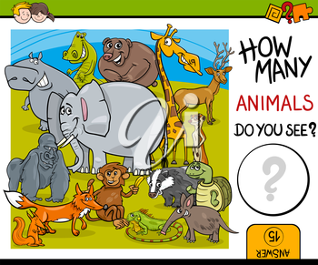 Cartoon Illustration of Educational Counting Task for Preschool Children with Wildlife Animal Characters