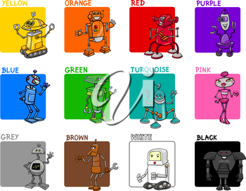 Cartoon Illustration of Primary Colors with Fantasy Robots Educational Set for Preschool Children