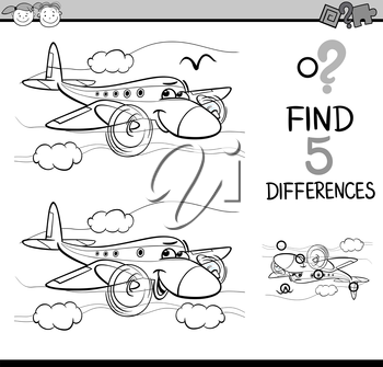 Black and White Cartoon Illustration of Finding Differences Educational Task for Preschool Children with Plane Transport Character for Coloring Book