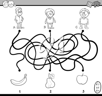Black and White Cartoon Illustration of Education Paths or Maze Puzzle Task for Preschoolers with Children and Fruits Coloring Book