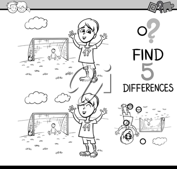 Black and White Cartoon Illustration of Finding Differences Educational Activity Task for Preschool Children with Boy Playing Soccer for Coloring Book