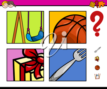 Cartoon Illustration of Educational Activity Task for Preschool Children with Objects