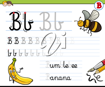Cartoon Illustration of Writing Skills Practise with Letter B Worksheet for Children