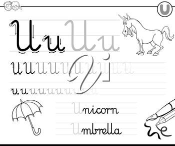 Black and White Cartoon Illustration of Writing Skills Practice with Letter U Worksheet for Children Coloring Book
