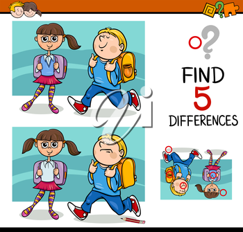 Cartoon Illustration of Finding Differences Educational Activity with School Children