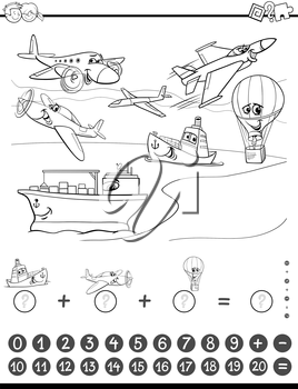 Black and White Cartoon Illustration of Educational Mathematical Counting and Addition Activity Task for Children with Planes and Ships for Coloring Book