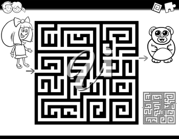 Black and White Cartoon Illustration of Education Maze or Labyrinth Activity Task for Children with Girl and Teddy for Coloring