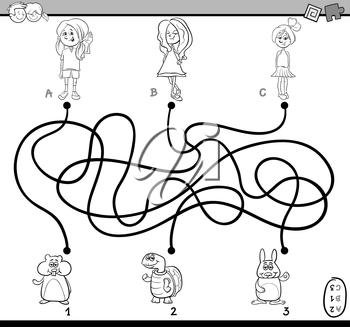 Black and White Cartoon Illustration of Educational Paths or Maze Puzzle Activity with Children Girls and Pets Coloring Book