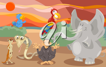 Cartoon Illustration of Scene with Wild Animal Characters Group