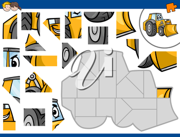 Cartoon Illustration of Educational Jigsaw Puzzle Activity for Children with Bulldozer Transportation Character