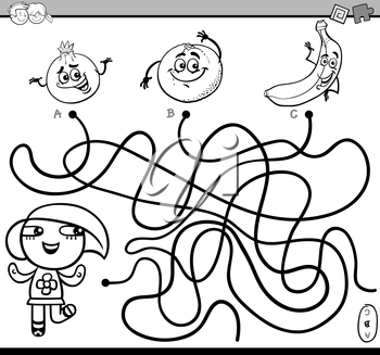 Black and White Cartoon Illustration of Educational Paths or Maze Puzzle Activity with Little Girl and Fruits Coloring Book