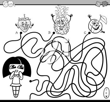 Black and White Cartoon Illustration of Educational Paths or Maze Puzzle Activity with Girl and Fruits Coloring Book