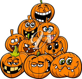 Cartoon Illustration of Halloween Pumpkins or Jack Lantern Characters Group in the Heap