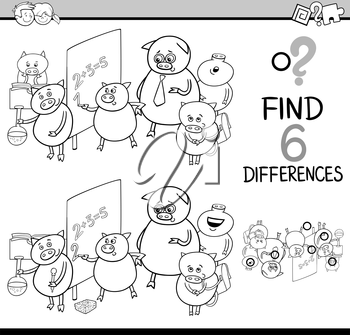 Black and White Cartoon Illustration of Finding Differences Educational Activity Game for Children with Piglet Student Characters Coloring Book