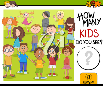 Cartoon Illustration of Educational Counting or Calculating Task for Children with Kid Characters Crowd