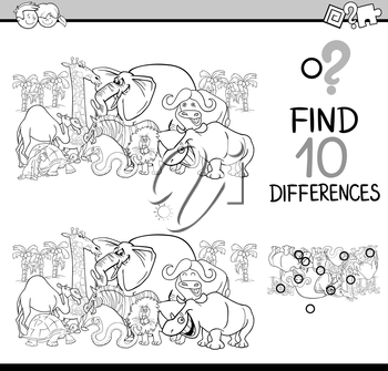 Black and White Cartoon Illustration of Finding Differences Educational Activity Task for Kids with Safari Animal Characters Coloring Book