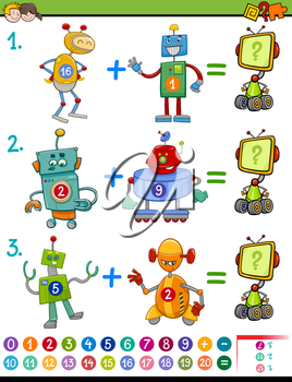 Cartoon Illustration of Educational Mathematical Activity Game for Children with Robots