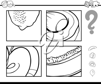 Black and White Cartoon Illustration of Educational Activity Task of Guessing Fruits for Children Coloring Page