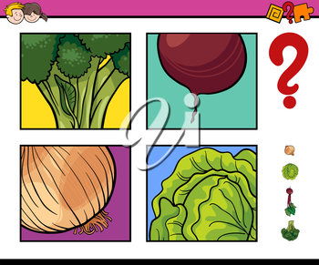 Cartoon Illustration of Educational Activity Task of Guessing Vegetables for Children