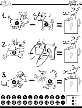 Black and White Cartoon Illustration of Educational Mathematical Subtraction Activity Task for Children with Dog Characters Characters Coloring Book