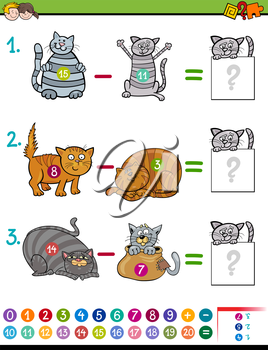 Cartoon Illustration of Educational Mathematical Subtraction Game for Children with Cat Characters