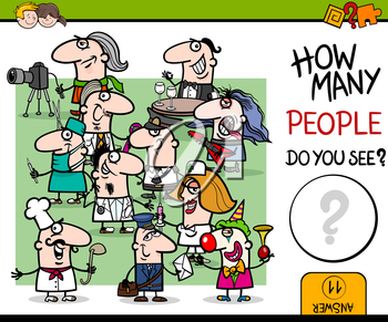 Cartoon Illustration of Educational Counting Activity for Children with Professional People Characters Group