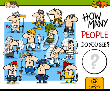 Cartoon Illustration of Educational Counting Activity for Children with Professionals People Characters Group