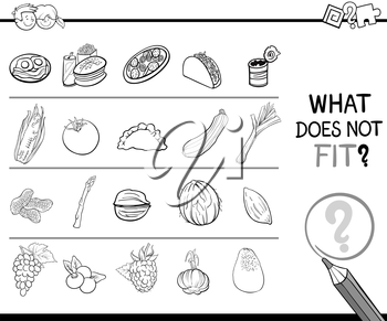 Black and White Cartoon Illustration of Finding Improper Picture in the Row Educational Game for Children with Food Objects Coloring Page
