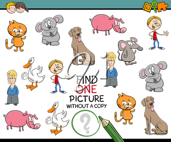 Cartoon Illustration of Educational Activity of Finding Picture for Children
