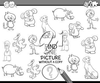 Black and White Cartoon Illustration of Educational Activity of Finding Picture for Children Coloring Page
