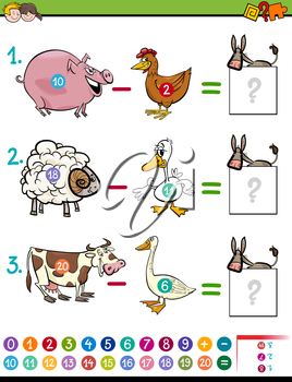 Cartoon Illustration of Educational Mathematical Subtraction Activity Game for Children with Farm Animal Characters