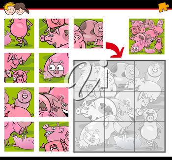 Cartoon Illustration of Education Jigsaw Puzzle Activity for Children with Pigs Farm Animal Characters