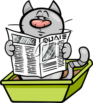 Cartoon Illustration of Cat Reading a Newspaper in his Litter Box
