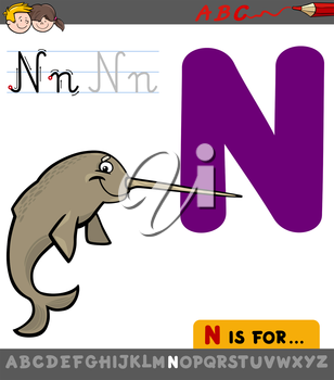 Educational Cartoon Illustration of Letter N from Alphabet with Narwhal Animal Character for Children